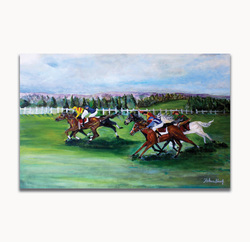 Horse RacingSize: 32 x 45 x 0.5 in.Medium used: Acrylic
