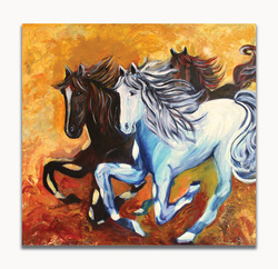 Horse fidelity Size: 39 x 38 x 0.5 in.Medium used: Acrylic